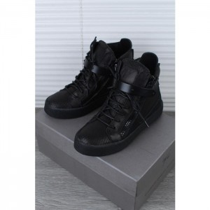 Giuseppe Zanotti Black Leather Matte High Top Sneaker