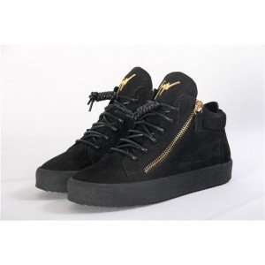 Giuseppe Zanotti Black Crocodile Embossed Leather Sneakers