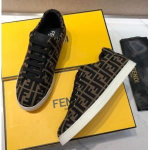 Fendi Low-top Sneakers FF themed printed and White rubber sole MS07990 Updated in 2019.06.21